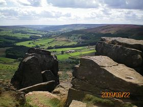The Wainstones, Chop Gate is in the valley below in the distance © Philip Cookson