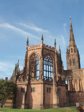 The ruins of Coventry Cathedral which was bombed in the Second World War