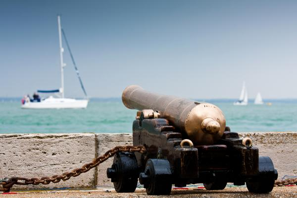 Cannon pointing out to sea at Cowes on the Isle of Wight.