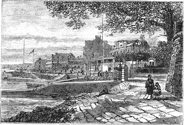 Old black and white engraving of Cowes Harbour