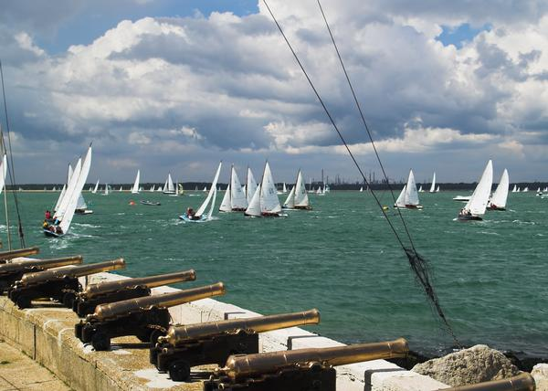 Sailing race at Cowes with canons in foreground