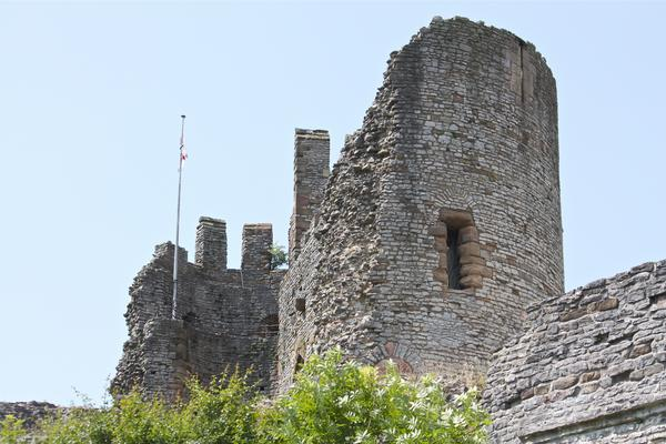 Dudley Castle with flag on a still, sunny day