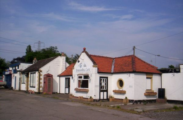 Dunham Hill cafe and filling station on the A56.