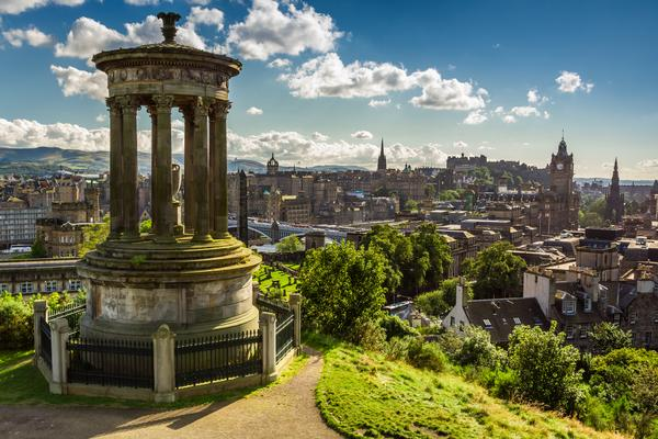 View of the city from Calton Hill on a sunny day
