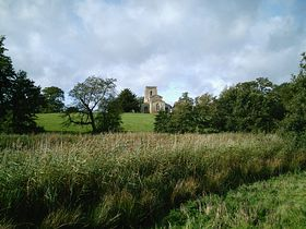 Fawsley church from lakes © Jim Payler