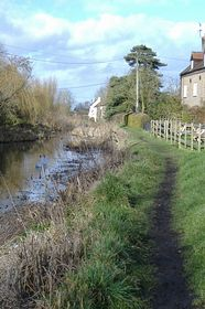 The redundant Stroudwater Canal outside The Ship public house. © Betty Haynes
