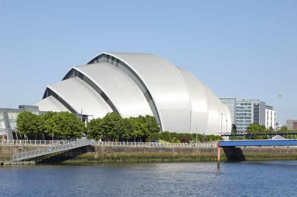 """The Armadillo"" concert hall on the bank of the River Clyde in Glasgow"