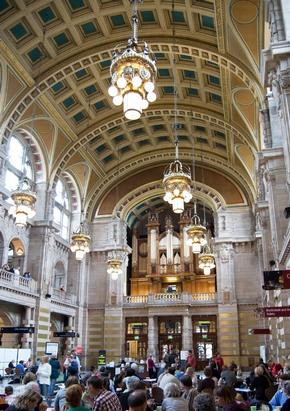 Main hall of the Kelvingrove Museum showing ornate arched ceiling