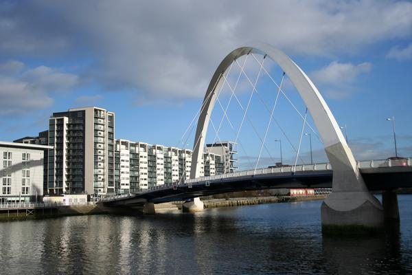 Clyde Arc bridge across the River Clyde
