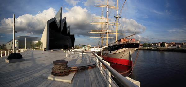 Tall Ship and The Riverside transport museum on the River Clyde, Glasgow