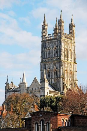 Distant view of Gloucester Cathedral Tower