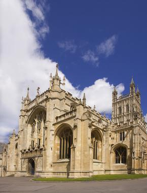 View of the entrance to Gloucester Cathedral