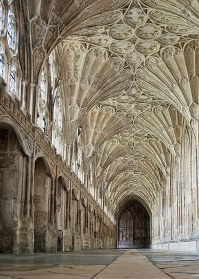 Impressive view of the carvings in a corridor in the Cloisters at Gloucester Cathedral