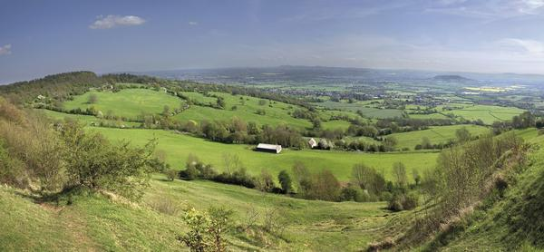 Panoramic view from Crickley Hill Country Park near Gloucester