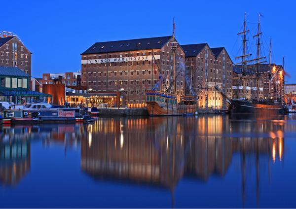 Evening view of ships and warehouses in Gloucester Docks Main Basin