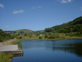 Looking up from the ponds to Glyncorrwg village. © Bob Morgan
