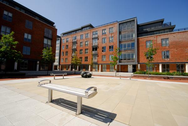 Benches in a square in Gosport Business District,Hampshire