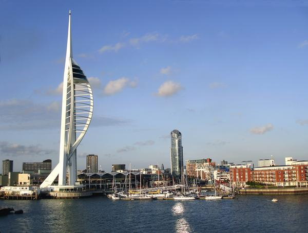 The waterfront at Portsmouth showing the Spinnaker tower, Gunwharf Quays and harbour