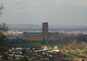 Guildford Cathedral from the Hog's Back © Sue Waugh