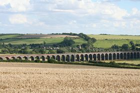 82-arch viaduct over the Welland Valley with the tiny village of Harringworth in the background. © Roger Gurney