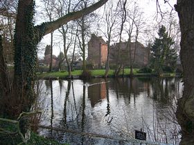 ACROSS THE MOAT LOOKING TOWARDS HARVINGTON HALL © Maxine Price