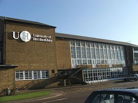 The Main Building of University of Hertfordshire's (old and first) College Lane Campus (c) Jknabe via Wikimedia Commons