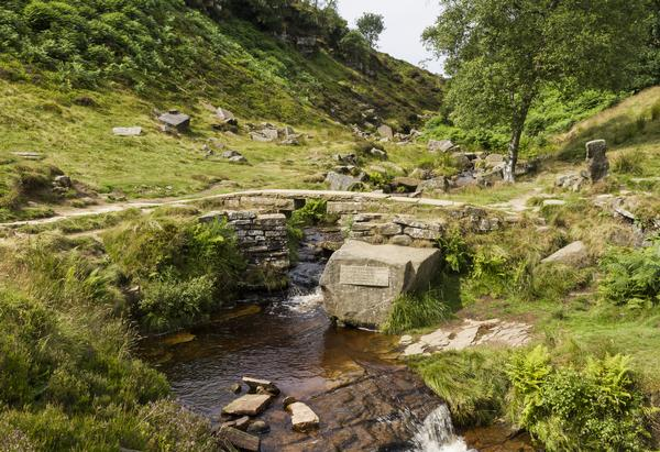 Bronte Bridge on Haworth Moor, West Yorkshire which is said to be a favourite walking area of the Bronte sisters.