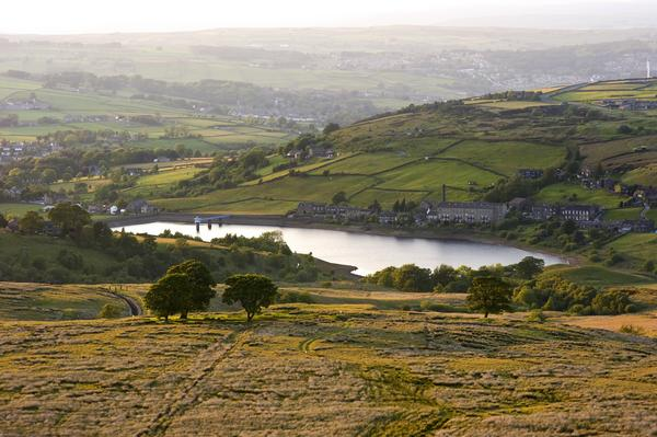 Reservoir in the heart of Bronte Country in hazy sunlight