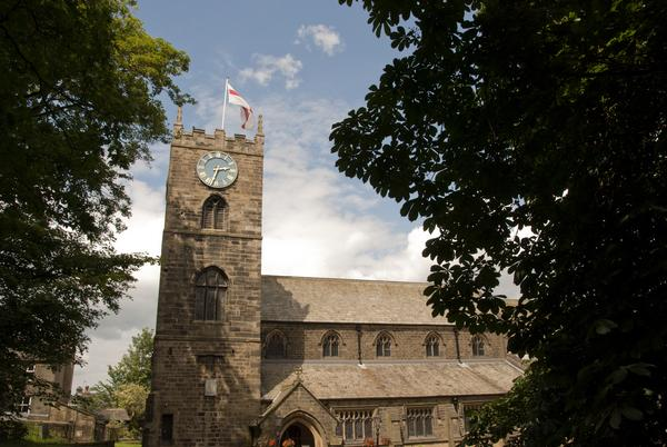Parish Church of St Michael and All Angels, Haworth, Yorkshire on a sunny day