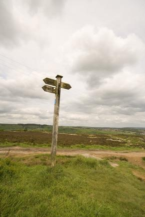 Signpost on Penistone Hill nr Haworth in Bronte country