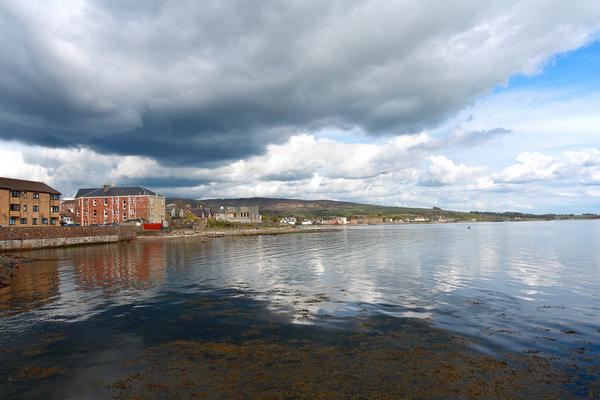 Panorama of Helensburgh waterfront, with brooding clouds