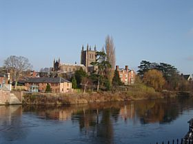 Hereford Cathedral from across the River Wye © Peter Shortall