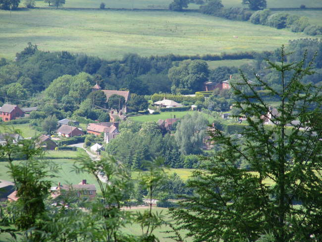 Aerial view of Hughley from Wenlock Edge © John Hall