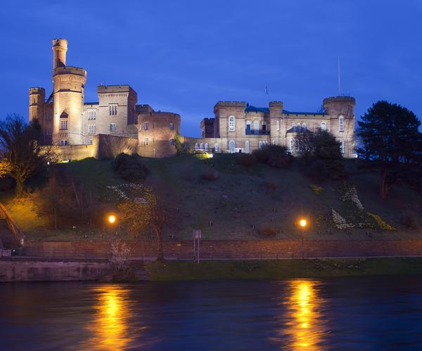 Floodlit view of Inverness Castle