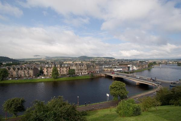 Inverness Cityscape showing the River Ness in the foreground