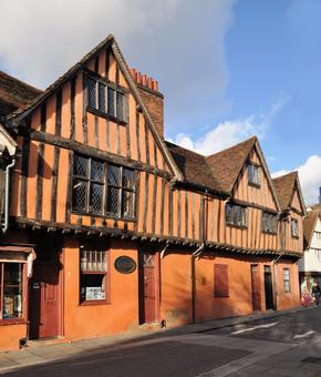 Half timbered orange coloured building in Silent Street, Ipswich