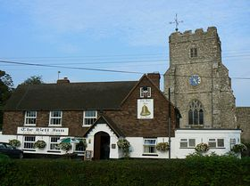 Ivychurch church and pub © Celia Heritage