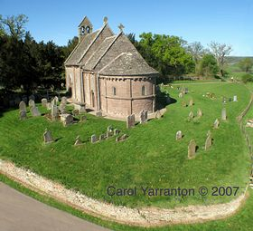 Aerial Photo of St Mary and St Davids Kilpeck  © Carol Yarranton