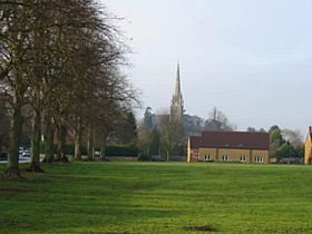 Kings Sutton Village Recreation Ground, and the Church of St Peter and St Paul © Harry Robinson