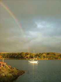 Rainbow's end: view from Landshipping's Big House quay © Sarah Hoss