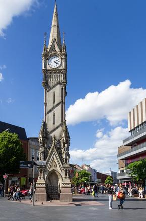Clocktower in Leicester City Centre - a memorial to four famous sons of Leicester
