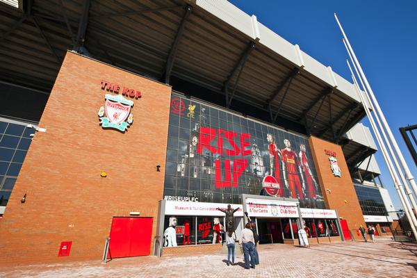 Anfield stadium, the home of Liverpool Football Club