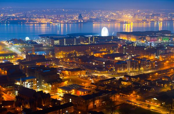 Panorama of Liverpool at night