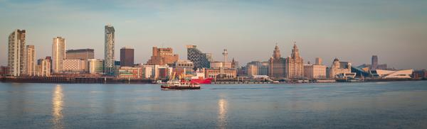 Panorama of Liverpool with the Mersey Ferry in the foreground