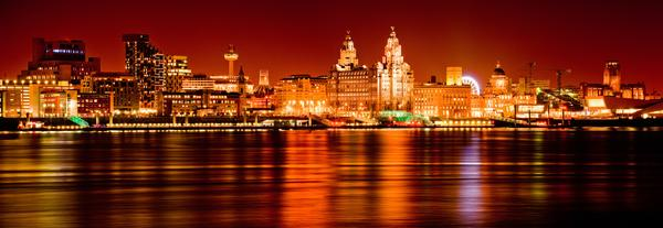 Liverpool Skyline at Night, reflected in the River