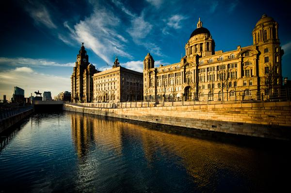 The Three Graces of Liverpool shown in this skyline panorama