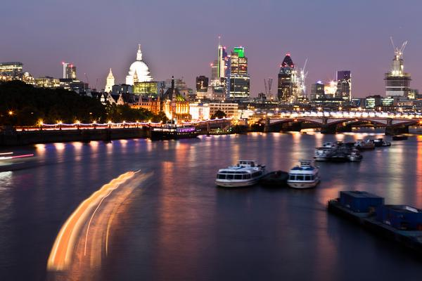 View of the River Thames and London Skyline at night