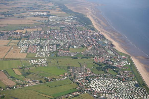 Aerial shot of Mablethorpe, Lincolnshire, England