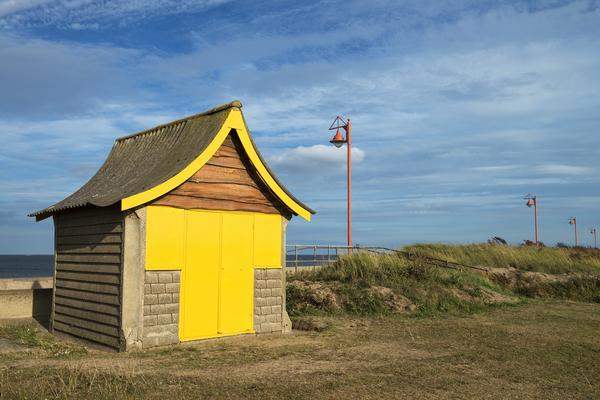 Lonely, colourful beach hut in Mablethorpe.