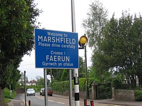 Welcome to Marshfield sign © A Milton